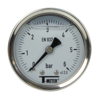 Manomètre inox - Insert laiton - 0-6 bars ø 50 - 1/4'' - Axial /  Glycérine