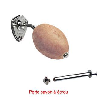 Savon beige exfoliant rotatif Provendi avec porte-savon chromé à écrou