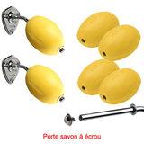 Lot 6 savons jaunes rotatif écolier à écrou + 2 portes savons écrou