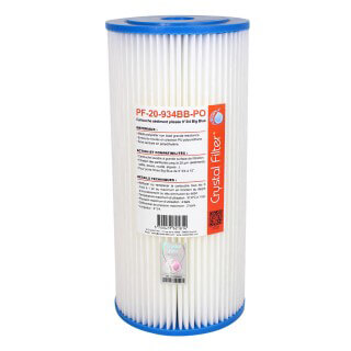 Cartouche PF-20-934BB-PO sédiment plissée 9''3/4 Big Blue - filtre 20 µm - Crystal Filter®